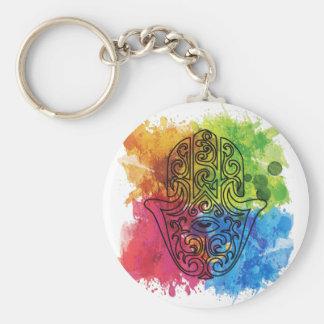 Wellcoda Vibrant Indian Symbol Asian Life Basic Round Button Keychain