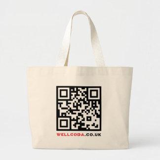 Wellcoda Vintage Apparel Code Neo Barcode Large Tote Bag