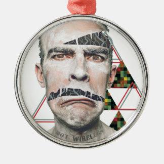 Wellcoda Wifi Wireless Human Sad Face Metal Ornament