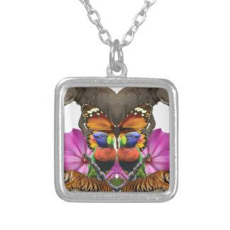 Wellcoda Wild Animal Paradise Pearl Clam Square Pendant Necklace
