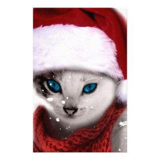 Wellcoda Xmas Cute Kitten Cat Santa Claus Stationery