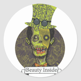 Wellcoda Zombie Dead Monster Scary Creepy Classic Round Sticker