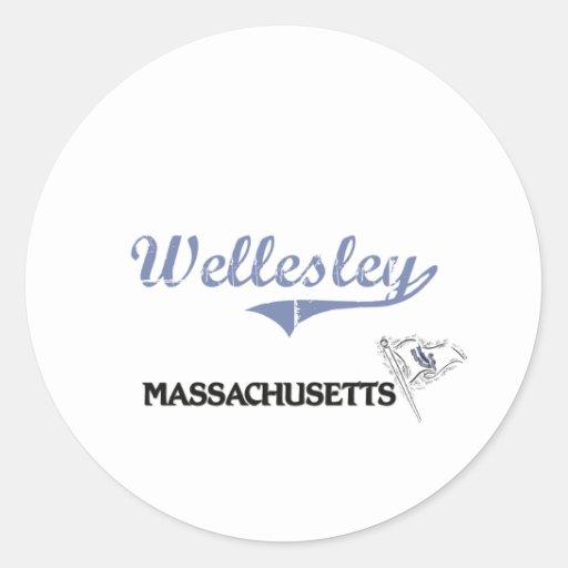Wellesley Massachusetts City Classic Classic Round Sticker