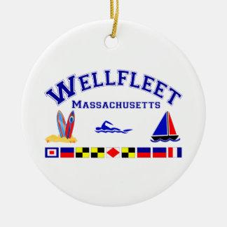 Wellfleet MA Signal Flags Ceramic Ornament