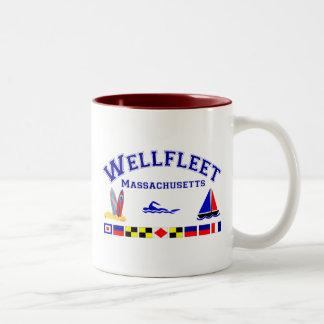 Wellfleet MA Signal Flags Two-Tone Coffee Mug