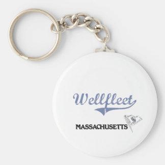 Wellfleet Massachusetts City Classic Basic Round Button Keychain
