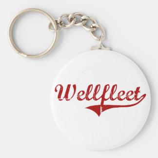 Wellfleet Massachusetts Classic Design Basic Round Button Keychain