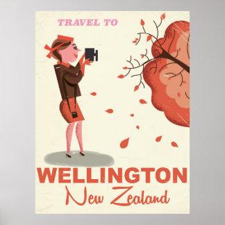 Wellington New Zealand vintage style travel poster