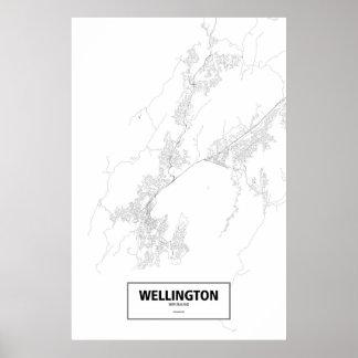 Wellington, Nueva Zelanda (negro en blanco) Posters