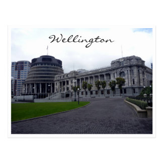 wellington parliament beehives postcard