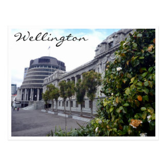 wellington parliament tree postcard
