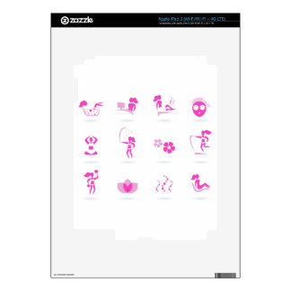 Wellness icons pink on white decals for iPad 3