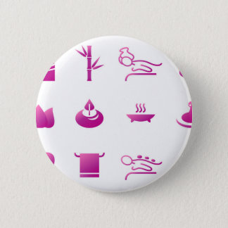 Wellness icons pink on white pinback button