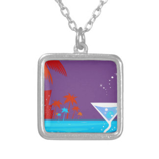 Wellness spa Martini Silver Plated Necklace
