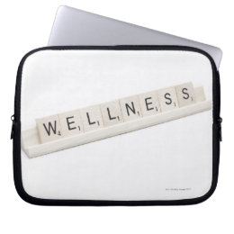 Wellness Spelled On A Word Board Game. Computer Sleeve