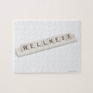 Wellness Spelled On A Word Board Game. Jigsaw Puzzle