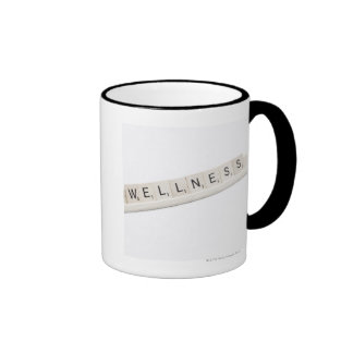 Wellness Spelled On A Word Board Game. Ringer Mug