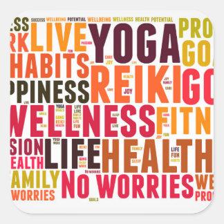 Wellness word cloud square sticker