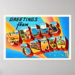 Wells Beach Maine ME Old Vintage Travel Souvenir Poster