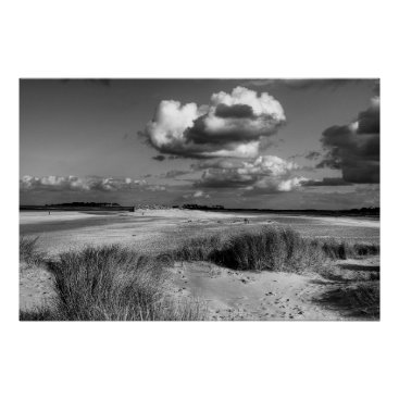 Beach Themed Wells-next-the Sea beach in Monochrome Poster