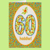 Welsh 60th Birthday Card, Orange Pot Marigolds Card