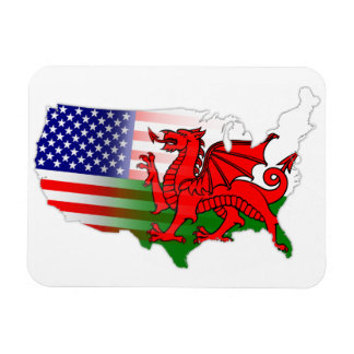 Welsh American Flags Map Flexi Magnet