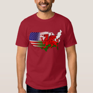Welsh American Flags & Map T-Shirt