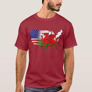 Welsh American Flags & Map T-Shirt