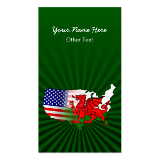 Welsh American Map Custom Business Cards
