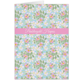 Welsh Birthday Card Pink Dogroses on Blue Greeting Card
