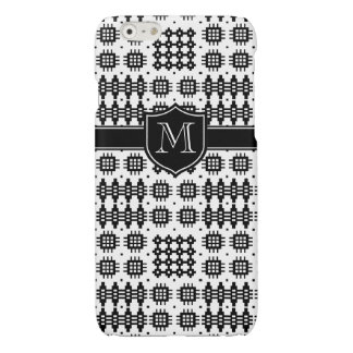Welsh Black and White Faux Tapestry Monogrammed Glossy iPhone 6 Case