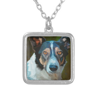 Welsh Border Collie Silver Plated Necklace