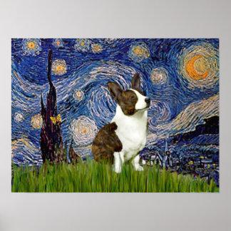 Welsh Corgi Cardigan  - Starry Night Poster
