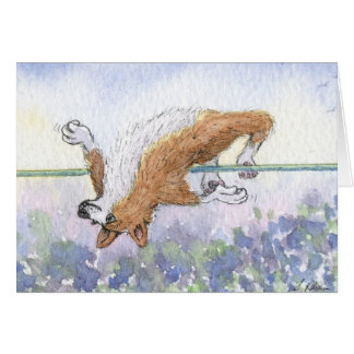 Welsh Corgi dog high jump Card