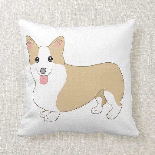 Red Dog Throw Pillows : Welsh Corgi Dog Illustration Throw Pillows Zazzle