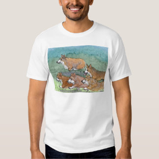 Welsh Corgi dog marathon running T Shirt