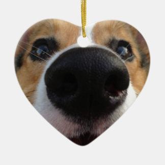 Welsh Corgi Dog Nose Collection Ceramic Ornament