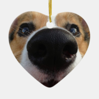 Welsh Corgi Dog Nose Collection Double-Sided Heart Ceramic Christmas Ornament