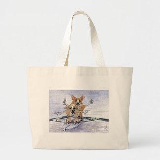 Welsh Corgi dog rowing Canvas Bags