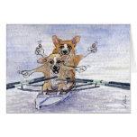 Welsh Corgi dog rowing Greeting Card