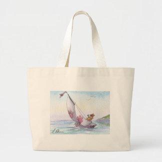 Welsh Corgi dog sailing Canvas Bags