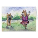 Welsh Corgi dog Scottish dancing Card