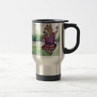 Welsh Corgi dog Scottish dancing Travel Mug