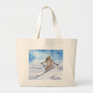 Welsh Corgi dog skiing Canvas Bag