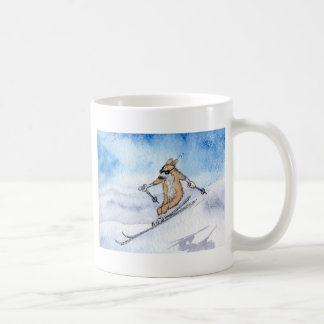 Welsh Corgi dog skiing Coffee Mug