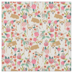 welsh corgi fabric print floral design