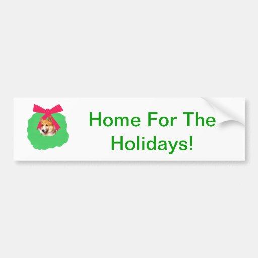 Welsh Corgi Holiday Christmas Wreath Car Bumper Sticker