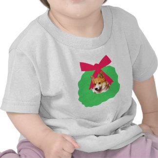 Welsh Corgi Holiday Christmas Wreath Tee Shirts