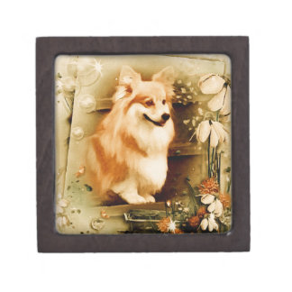 Welsh Corgi in Floral Frame Gift Box