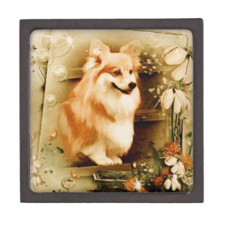 Welsh Corgi in Floral Frame Jewelry Box